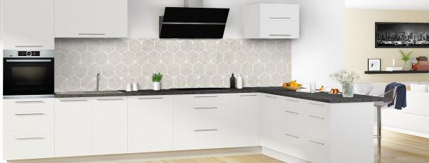 Crédence de cuisine Carreaux de ciment hexagonaux taupe panoramique en perspective