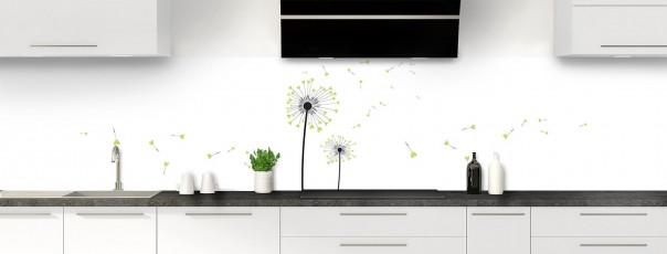 Crédence de cuisine Envol d'amour couleur vert olive panoramique motif inversé