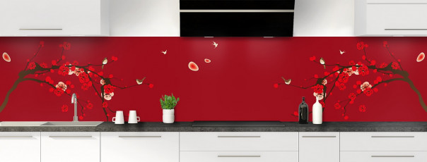 Crédence de cuisine Cerisier japonnais couleur rouge carmin panoramique