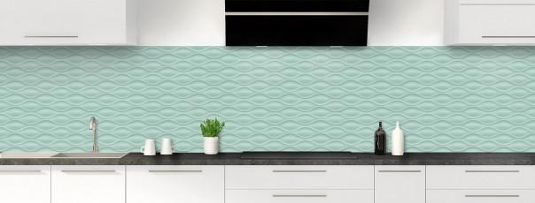 Crédence de cuisine Motif vagues couleur vert pastel panoramique