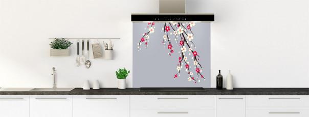 Crédence de cuisine Arbre fleuri couleur gris métal fond de hotte