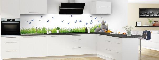 Crédence de cuisine Galets et papillons Blanc panoramique en perspective
