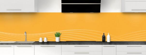 Crédence de cuisine Courbes couleur abricot panoramique motif inversé