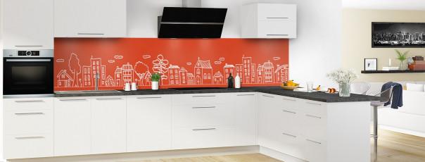 Crédence de cuisine Dessin de ville couleur rouge brique panoramique en perspective