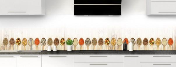 Crédence de cuisine Cuillères gourmandes panoramique motif inversé