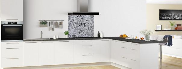 Crédence de cuisine Love illustration couleur gris métal fond de hotte en perspective