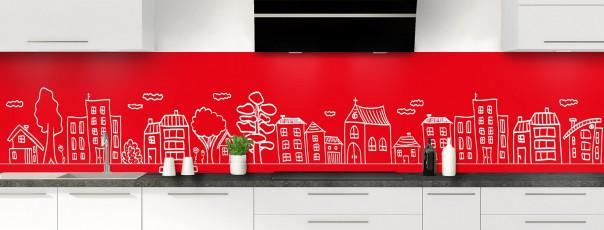 Crédence de cuisine Dessin de ville couleur rouge vif panoramique