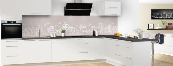 Crédence de cuisine Dessin de ville couleur argile panoramique en perspective