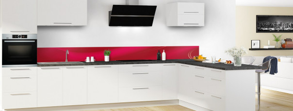 Crédence de cuisine Volute couleur rouge carmin dosseret en perspective