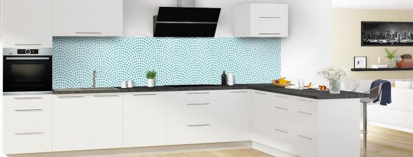 Crédence de cuisine Mosaïque petits cœurs couleur bleu lagon panoramique en perspective