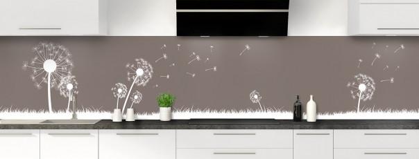 Crédence de cuisine Pissenlit au vent couleur taupe panoramique