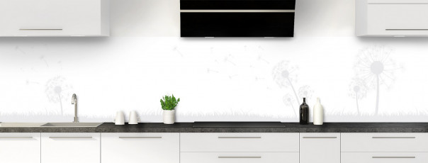 Crédence de cuisine Pissenlit au vent couleur blanc panoramique motif inversé