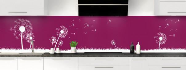 Crédence de cuisine Pissenlit au vent couleur prune panoramique