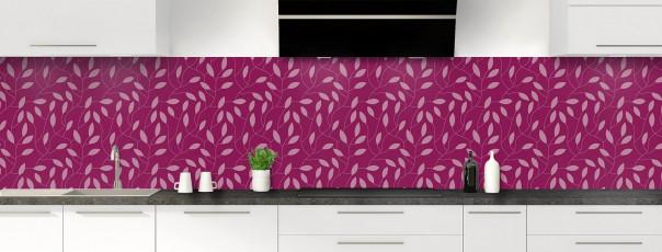 Crédence de cuisine Rideau de feuilles couleur prune panoramique