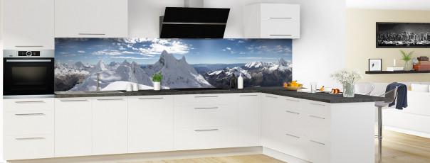 Crédence de cuisine Massif en hiver couleur panoramique en perspective