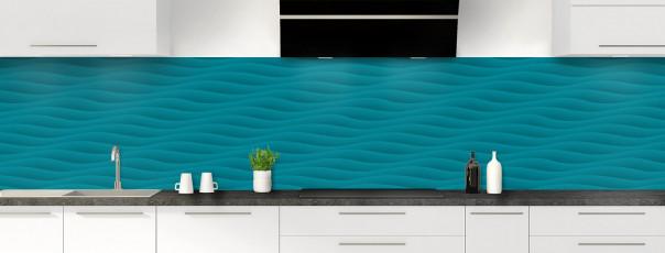 Crédence de cuisine Ondes couleur bleu canard panoramique