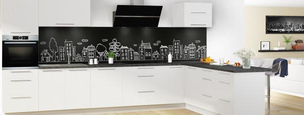 Crédence de cuisine Dessin de ville couleur noir panoramique en perspective