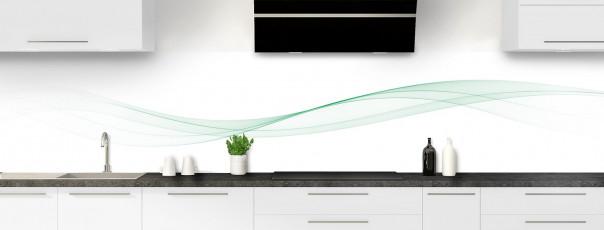 Crédence de cuisine Vague graphique couleur vert eau panoramique motif inversé