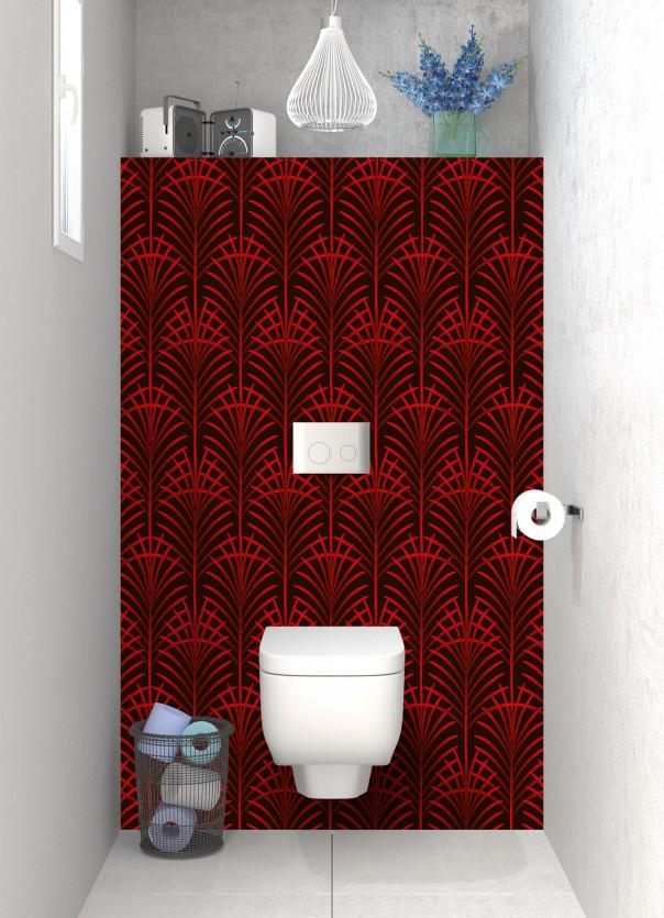 Panneau WC Feuilles de paume couleur rouge vif