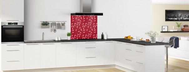 Crédence de cuisine Rideau de feuilles couleur rouge carmin fond de hotte en perspective