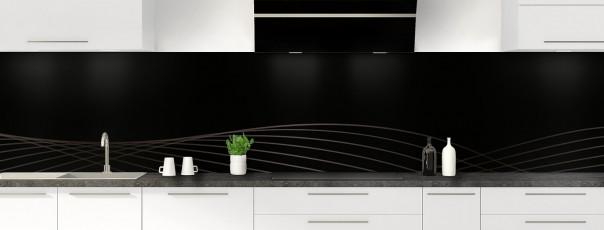 Crédence de cuisine Courbes couleur noir panoramique motif inversé