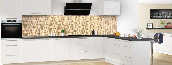 Crédence de cuisine Mosaïque petits cœurs couleur abricot panoramique en perspective