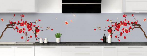 Crédence de cuisine Cerisier japonnais couleur gris métal panoramique