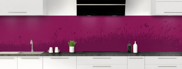 Crédence de cuisine Prairie et papillons couleur prune panoramique motif inversé