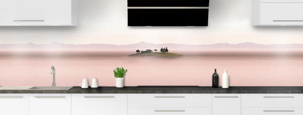 Crédence de cuisine Brume rosée panoramique