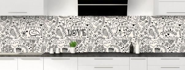 Crédence de cuisine Love illustration couleur magnolia panoramique