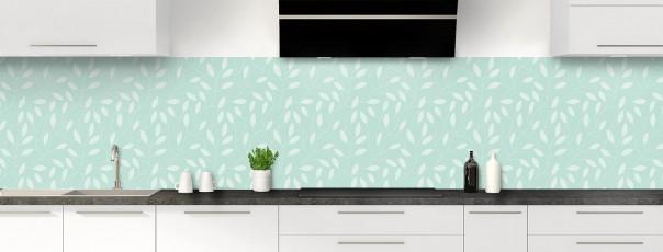 Crédence de cuisine Rideau de feuilles couleur vert pastel panoramique