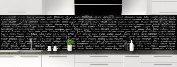 Crédence de cuisine Etapes de recette couleur noir panoramique