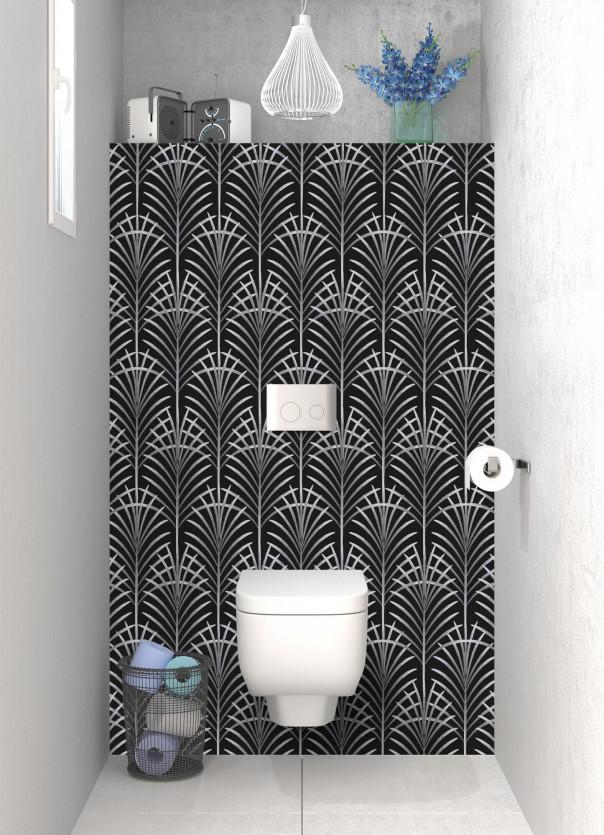 Panneau WC Feuilles de paume couleur gris clair