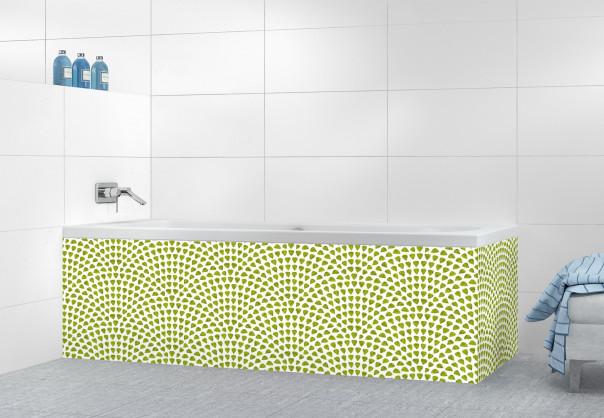 Panneau tablier de bain Mosaïque petits cœurs couleur vert olive