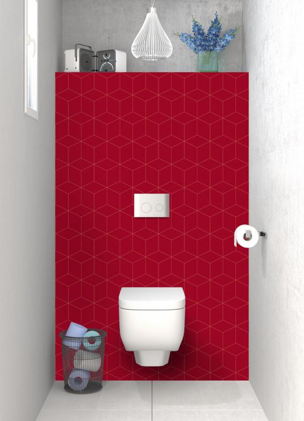 Panneau WC Cubes en relief couleur rouge carmin