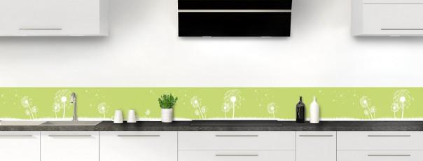Crédence de cuisine Pissenlit au vent couleur vert olive dosseret motif inversé