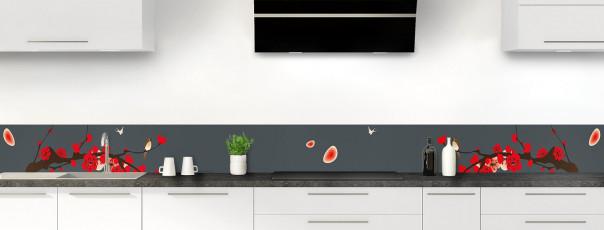 Crédence de cuisine Cerisier japonnais couleur gris carbone dosseret motif inversé
