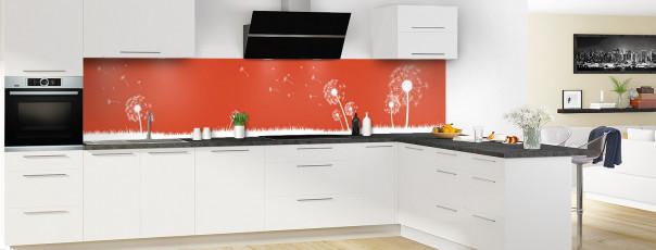 Crédence de cuisine Pissenlit au vent couleur rouge brique panoramique motif inversé en perspective