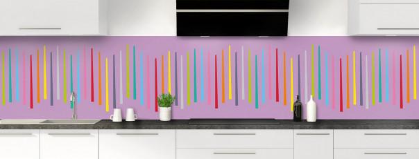 Crédence de cuisine Barres colorées couleur parme panoramique