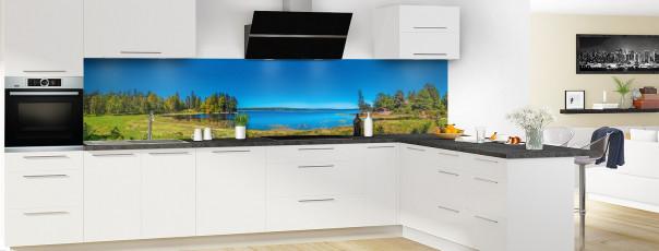 Crédence de cuisine Lac boisé panoramique motif inversé en perspective