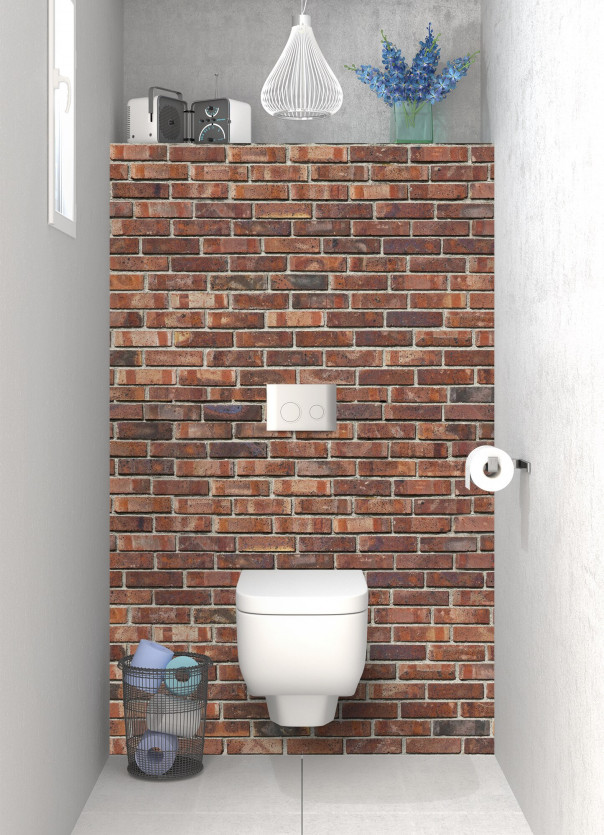 Panneau WC Briques anciennes rouges