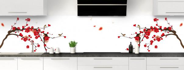 Crédence de cuisine Cerisier japonnais couleur blanc panoramique motif inversé