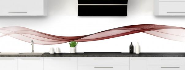 Crédence de cuisine Vague graphique couleur rouge pourpre panoramique motif inversé