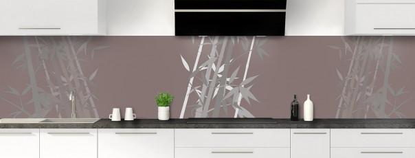Crédence de cuisine Bambou zen couleur taupe panoramique