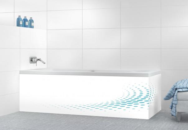 Panneau tablier de bain Nuage de points couleur bleu lagon