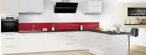 Crédence de cuisine Courbes couleur rouge carmin dosseret en perspective