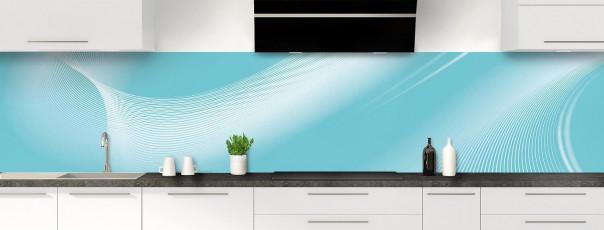 Crédence de cuisine Volute couleur bleu lagon panoramique