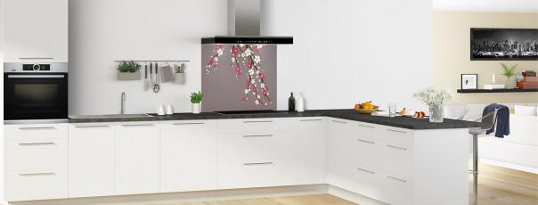 Crédence de cuisine Arbre fleuri couleur taupe fond de hotte en perspective