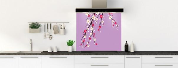Crédence de cuisine Arbre fleuri couleur parme fond de hotte motif inversé
