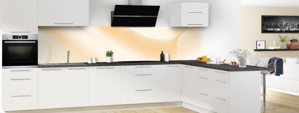 Crédence de cuisine Volute couleur magnolia panoramique motif inversé en perspective
